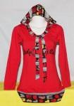 Kaos Wanita Hoody Dengan Pita Merah