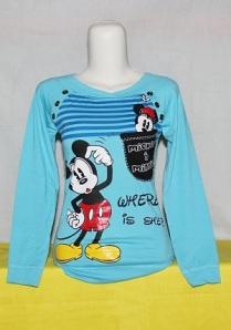 Kaos Gambar Kartun Mickey Mouse Biru (Tamapak depan)